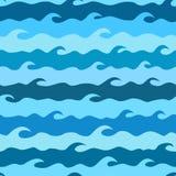 Nahtloses Muster des Vektors mit stilisierten Meereswellen Fokus auf Welle auf dem Vordergrund Stockbild