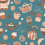 Nahtloses Muster des Vektors mit Teeelementen Lizenzfreies Stockfoto