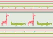Nahtloses Muster des Vektors mit Tieren: Giraffe, Krokodil Stockbild