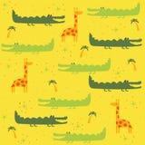 Nahtloses Muster des Vektors mit Tieren: Giraffe, Krokodil Stockfoto