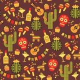 Nahtloses Muster des Vektors mit traditionellen mexikanischen Symbolen Stockfotos