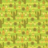 Nahtloses Muster des Vektors mit traditionellen mexikanischen Symbolen Stockfoto
