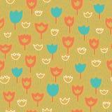 Nahtloses Muster des Vektors mit Tulpen und Gras Gelbe Blumen, Basisrecheneinheit, Inneres mit Tropfen Orange und blaue Farben Lizenzfreie Stockfotografie