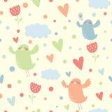 Nahtloses Muster des Vektors mit Vögeln Lizenzfreie Stockbilder