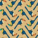 Nahtloses Muster des Vektors mit Vögeln Stockfotografie