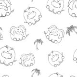 Nahtloses Muster des Vektors mit von Hand gezeichneten lustigen netten fetten Tieren Schattenbilder von Tieren auf einem wei?en H lizenzfreie abbildung