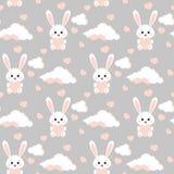Nahtloses Muster des Vektors mit weißem Kaninchen des süßen und netten Häschens, Wolken, rosa Herzen lizenzfreie abbildung