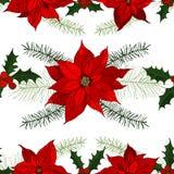 Nahtloses Muster des Vektors mit Weihnachtsanlagen Stockbild