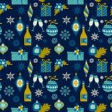 Nahtloses Muster des Vektors mit Weihnachtssymbolen Lizenzfreies Stockfoto