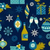 Nahtloses Muster des Vektors mit Weihnachtssymbolen Stockfotografie
