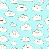 Nahtloses Muster des Vektors mit Wolken Glückliche Frühlingswolken fliegen Lizenzfreie Stockfotografie