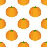 Nahtloses Muster des Vektors des orange Kürbises Flache Art der Karikatur Stockbilder