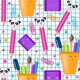 Nahtloses Muster des Vektors Schul Nette kawaii Kinder drucken, Beschaffenheit Zur?ck zu Schule Quadratisches Listenpapier vektor abbildung