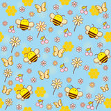 Nahtloses Muster des Vektors von Bienen Lizenzfreie Stockfotos