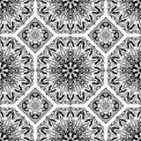 Nahtloses Muster des Vektors von den schwarzen abstrakten Mandalen Stockbilder