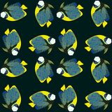 Nahtloses Muster des Vektors von den Schwimmenfischen Kaiser Angelfish Stockbilder