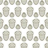 Nahtloses Muster des Vektors von der Eichel Stockbilder