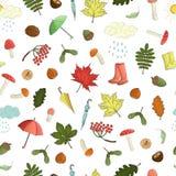 Nahtloses Muster des Vektors von farbigen Herbstelementen stock abbildung
