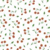 Nahtloses Muster des Vektors von Gartenblumen und -kräutern Handgezogener Karikaturart-Wiederholungshintergrund Netter Sommer od lizenzfreie abbildung