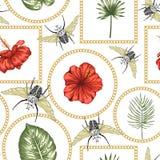 Nahtloses Muster des Vektors von grünen tropischen Blättern mit Strelitziablumen stock abbildung