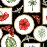 Nahtloses Muster des Vektors von grünen tropischen Blättern stock abbildung