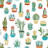 Nahtloses Muster des Vektors von Kakteen und von Succulents Stockbilder