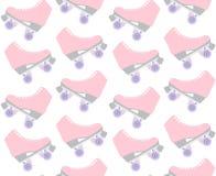 Nahtloses Muster des Vektors von rosa PastellRollschuhen der flachen Karikatur auf weißem Hintergrund stock abbildung