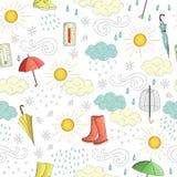 Nahtloses Muster des Vektors von Wetterelementen lizenzfreie abbildung
