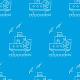 Nahtloses Muster des Vektors des weißen Karikaturschiffs mit Anker Lizenzfreie Stockfotos