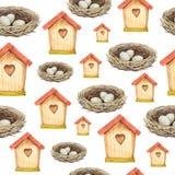 Nahtloses Muster des Vogelhaus- und Nestaquarells Lizenzfreie Stockfotos