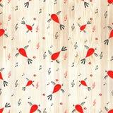 Nahtloses Muster des Vogels, Frühlingshintergrund mit Gesangvögeln Stockfotos