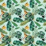 Nahtloses Muster des von Hand gezeichneten Aquarells Gr?ne tropische Bl?tter und wilde Tiere vektor abbildung