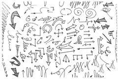 Nahtloses Muster des von Hand gezeichneten Gekritzels mit Pfeilen eps10 Stockfotos