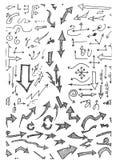 Nahtloses Muster des von Hand gezeichneten Gekritzels mit Pfeilen eps10 Lizenzfreies Stockfoto