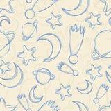 Nahtloses Muster des von Hand gezeichneten nächtlichen Himmels Stockbilder