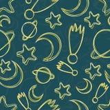 Nahtloses Muster des von Hand gezeichneten nächtlichen Himmels Stockfotografie