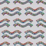 Nahtloses Muster des Wassermannsternzeichens Magischer Symbolhintergrund des Horoskops Hand gezeichnete astrologische bunte Besch Stockbild