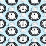 Nahtloses Muster des weißen Löwes lizenzfreie abbildung