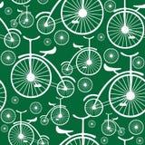 Nahtloses Muster des weißen Retro- Fahrrades Stockbilder