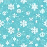 Nahtloses Muster des weißen Schneeflockenvektors lizenzfreies stockbild