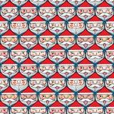 Nahtloses Muster des Weihnachts-Weihnachtsmann-Gefühlgesichtes Lizenzfreie Stockfotografie