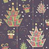 Nahtloses Muster des Weihnachtsbaums Lizenzfreies Stockbild
