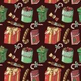 Nahtloses Muster des Weihnachtsneuen Jahres auf kastanienbraunem Hintergrund lizenzfreie abbildung