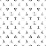 Nahtloses Muster des Weihnachtsneuen Jahres mit SchneeflockenWeihnachtsbaum Gelbe und rote Farben Weihnachtswinterdekoration Silb Stockfotos