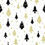 Nahtloses Muster des Weihnachtsneuen Jahres mit Weihnachtsbaum Lizenzfreies Stockfoto