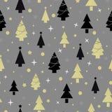 Nahtloses Muster des Weihnachtsneuen Jahres mit Weihnachtsbaum Stockfotografie