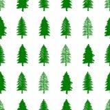 Nahtloses Muster des Weihnachtsvektors mit Bäumen Lizenzfreies Stockbild