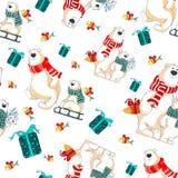 Nahtloses Muster des Weihnachtsvektors mit Eisbären Lizenzfreie Stockfotografie