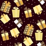 Nahtloses Muster des Weihnachtsvektors mit Geschenken und Schnee im Gold lizenzfreie abbildung