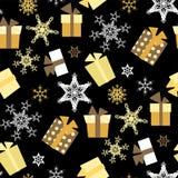 Nahtloses Muster des Weihnachtsvektors mit Geschenken und Schneeflocken lizenzfreie abbildung